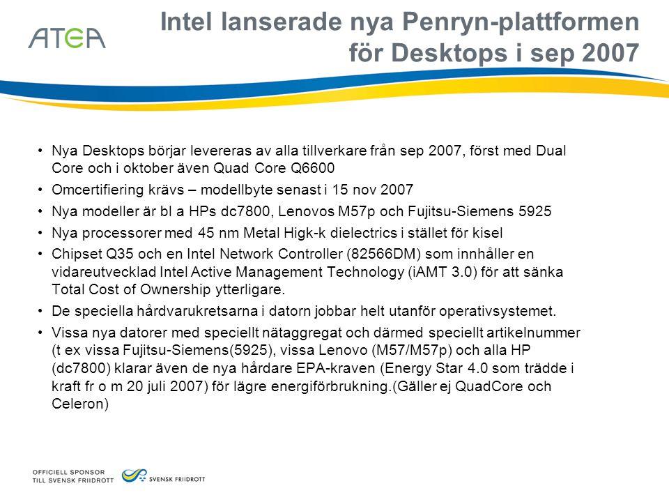 Välj standard på Desktop och Notebook för framtiden • Den standardmodell man väljer i dag utrangeras år 2011 • Redan 2008/2009 körs Vista på dessa datorer – Välj Vista Ready eller Vista Premium Ready-datorer • Välj vPro på stationärt och Centrino Pro på bärbart för sänkt Total Cost of Ownership (TCO) • Se till att bärbara har 2 lika stora internminnen (helst 2x1 GB eller minst 2x512 MB) och samma fart (667 MHz) i bärbara datorer (annars inte både Aeroglass och Dual Screen samtidigt) • Välj standardmodeller inom samma serie (t ex HPs dc7800 och bärbara p/w-serie) för ett och samma hårddisk-innehåll (Image) – Fler Imager höjer TCO • Välj standardmodeller i långlivade serier med samma Image i 9-12 månader t ex HPs dc7800/p-serie (s- och b-serien har ca 6 mån stabil Image – det blir dubbla antalet Imager att hålla reda på – ökar TCO) • Duktigt är att hålla max 16 Imager samtidigt under en 3 års-period