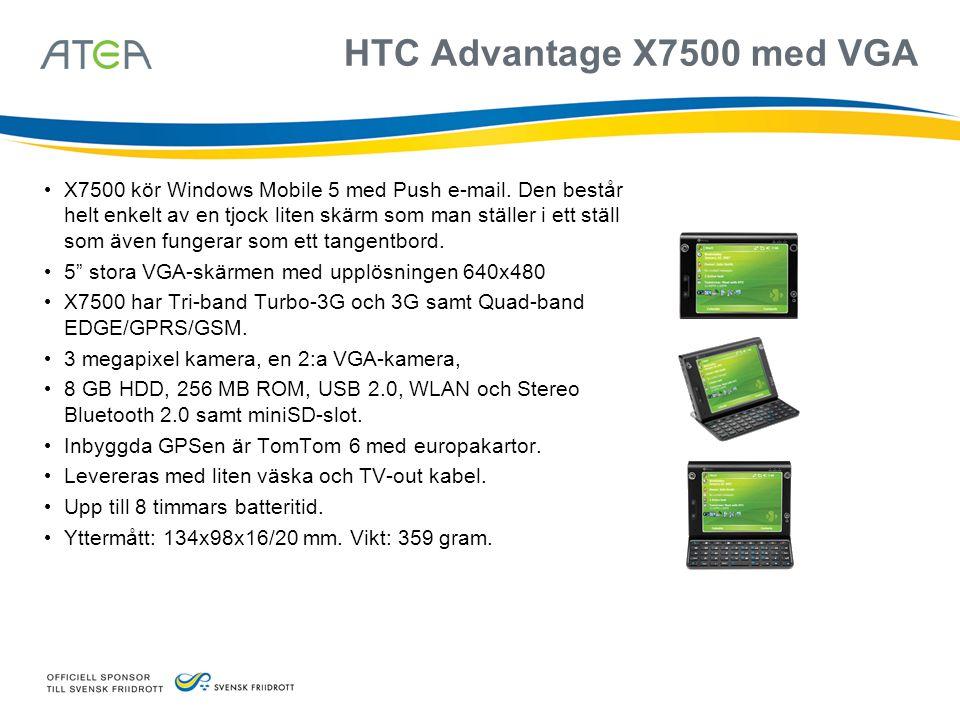 HTC Advantage X7500 med VGA • X7500 kör Windows Mobile 5 med Push e-mail. Den består helt enkelt av en tjock liten skärm som man ställer i ett ställ s
