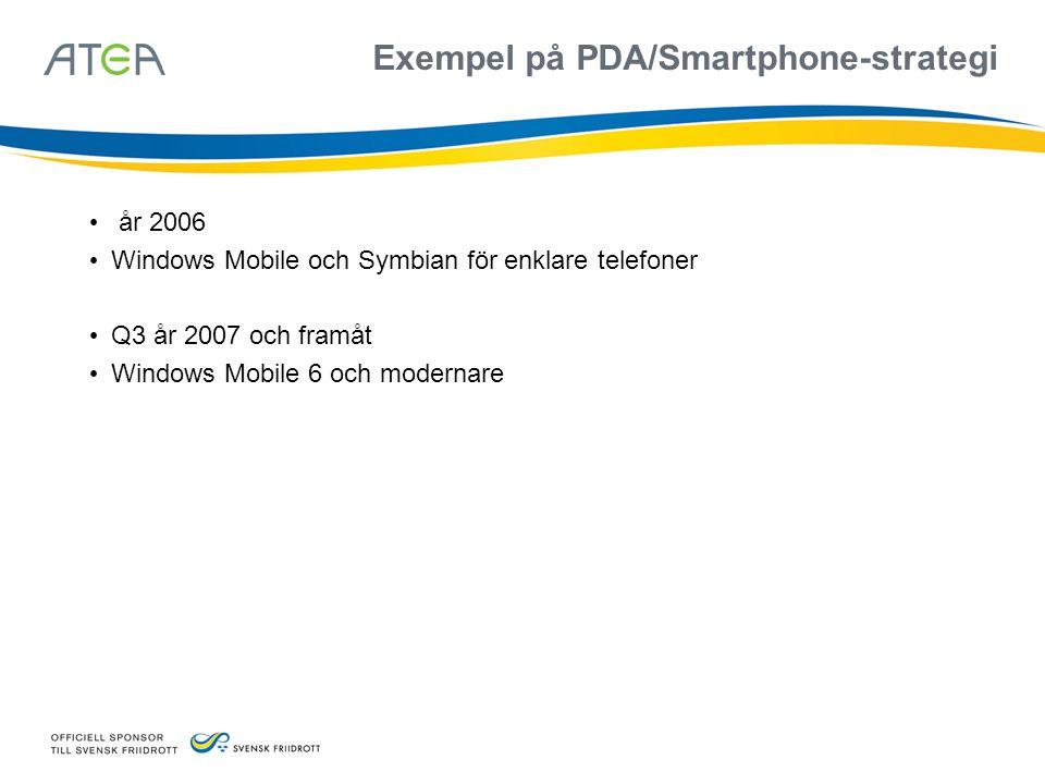 Exempel på PDA/Smartphone-strategi • år 2006 • Windows Mobile och Symbian för enklare telefoner • Q3 år 2007 och framåt • Windows Mobile 6 och moderna