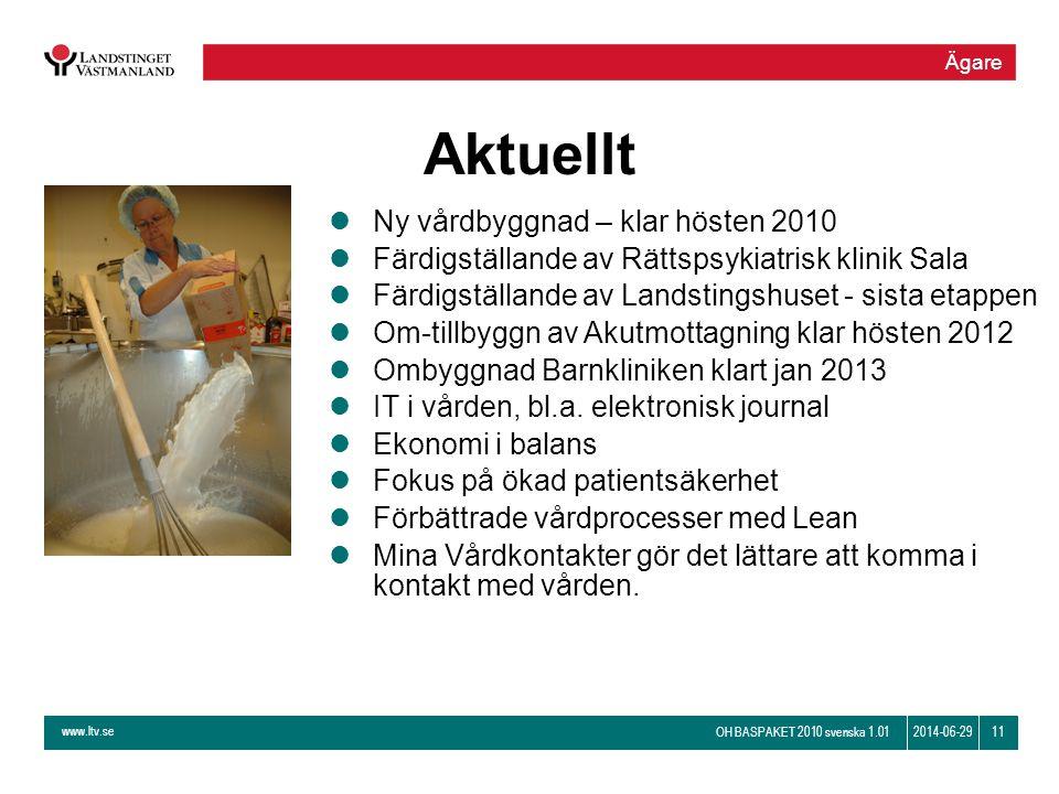 www.ltv.se OH BASPAKET 2010 svenska 1.01 112014-06-29 Aktuellt lNy vårdbyggnad – klar hösten 2010 lFärdigställande av Rättspsykiatrisk klinik Sala lFä