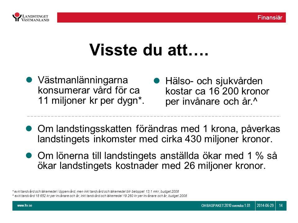 www.ltv.se OH BASPAKET 2010 svenska 1.01 142014-06-29 Visste du att…. lVästmanlänningarna konsumerar vård för ca 11 miljoner kr per dygn*. l Om landst
