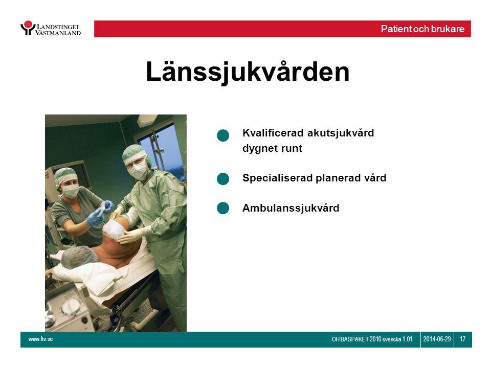 www.ltv.se OH BASPAKET 2010 svenska 1.01 172014-06-29 Länssjukvården Kvalificerad akutsjukvård dygnet runt Specialiserad planerad vård Ambulanssjukvår
