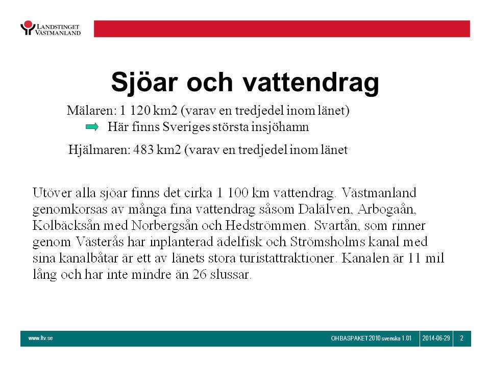 www.ltv.se OH BASPAKET 2010 svenska 1.01 22014-06-29 Sjöar och vattendrag Mälaren: 1 120 km2 (varav en tredjedel inom länet) Här finns Sveriges störst