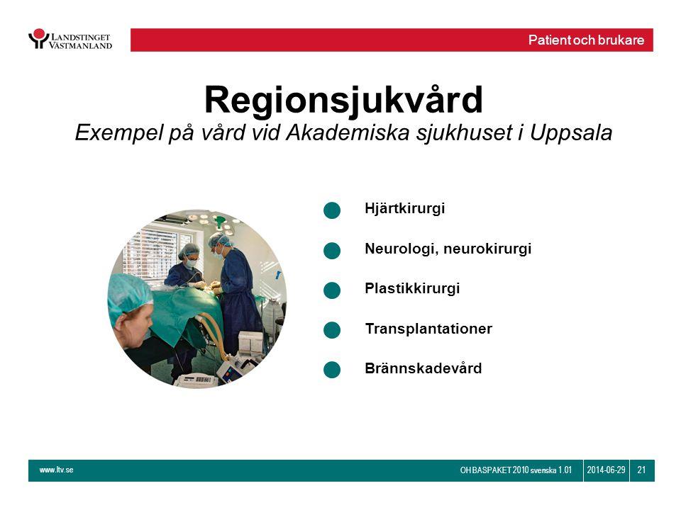 www.ltv.se OH BASPAKET 2010 svenska 1.01 212014-06-29 Regionsjukvård Exempel på vård vid Akademiska sjukhuset i Uppsala Hjärtkirurgi Neurologi, neurok