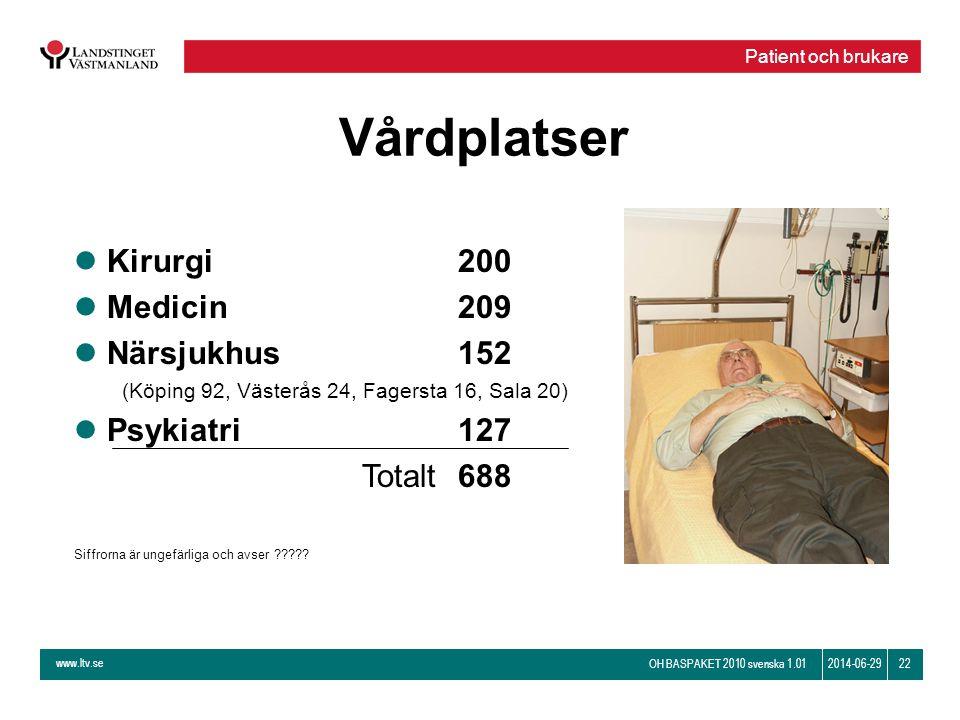 www.ltv.se OH BASPAKET 2010 svenska 1.01 222014-06-29 Vårdplatser Patient och brukare l Kirurgi200 l Medicin209 l Närsjukhus152 (Köping 92, Västerås 2