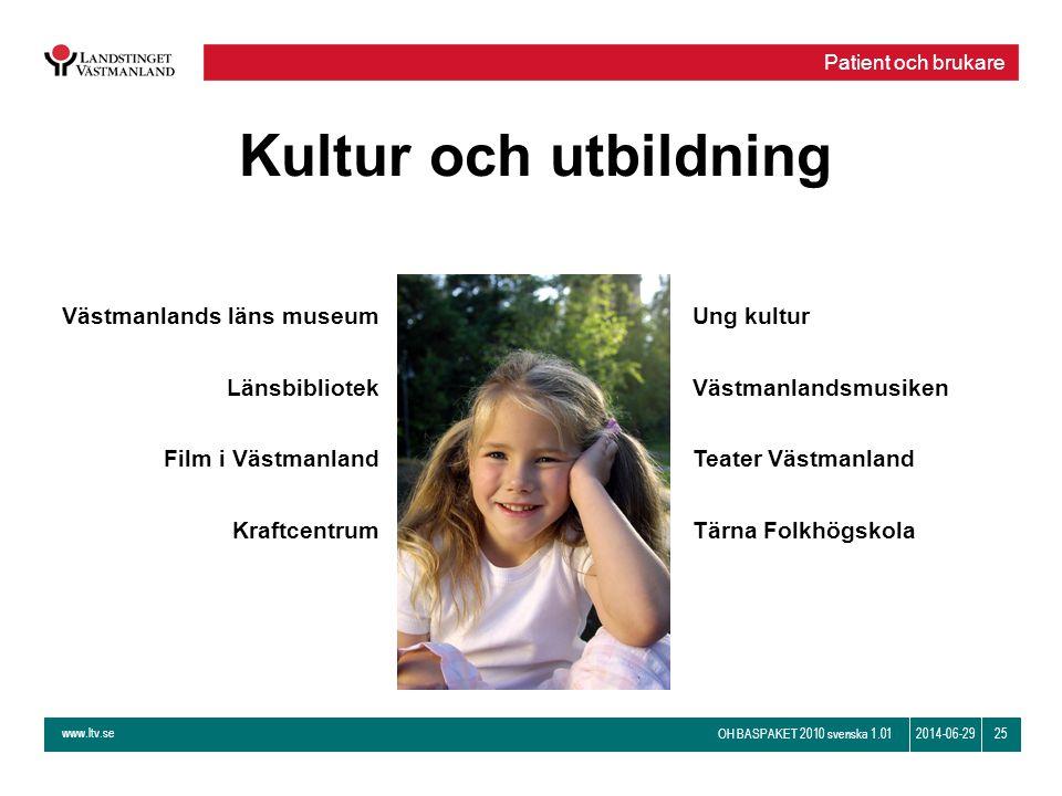 www.ltv.se OH BASPAKET 2010 svenska 1.01 252014-06-29 Kultur och utbildning Västmanlands läns museum Länsbibliotek Film i Västmanland Kraftcentrum Ung