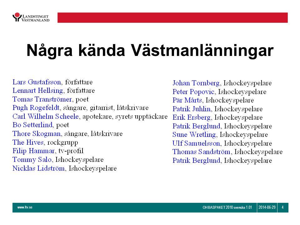www.ltv.se OH BASPAKET 2010 svenska 1.01 42014-06-29 Några kända Västmanlänningar