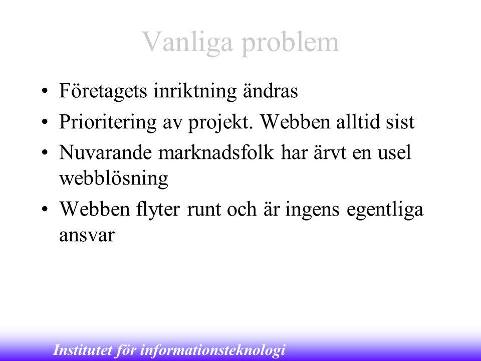 Institutet för informationsteknologi Vanliga problem •Företagets inriktning ändras •Prioritering av projekt. Webben alltid sist •Nuvarande marknadsfol