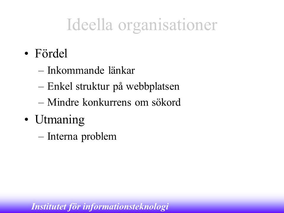 Institutet för informationsteknologi Ideella organisationer •Fördel –Inkommande länkar –Enkel struktur på webbplatsen –Mindre konkurrens om sökord •Ut