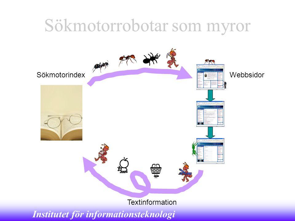 Institutet för informationsteknologi Sökmotorrobotar som myror SökmotorindexWebbsidor Textinformation