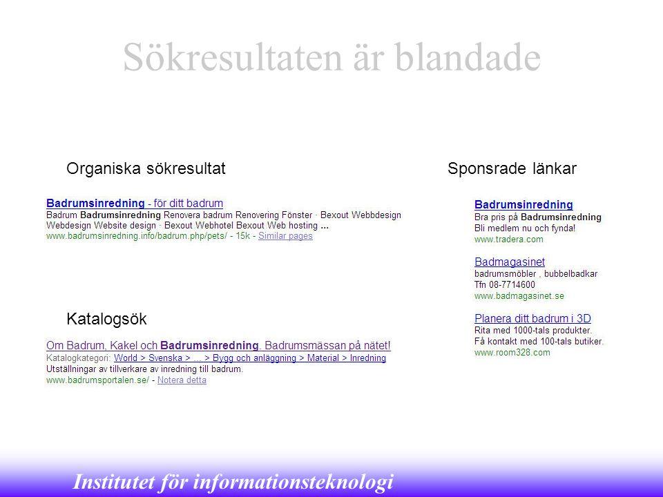 Institutet för informationsteknologi Sökresultaten är blandade Organiska sökresultat Katalogsök Sponsrade länkar