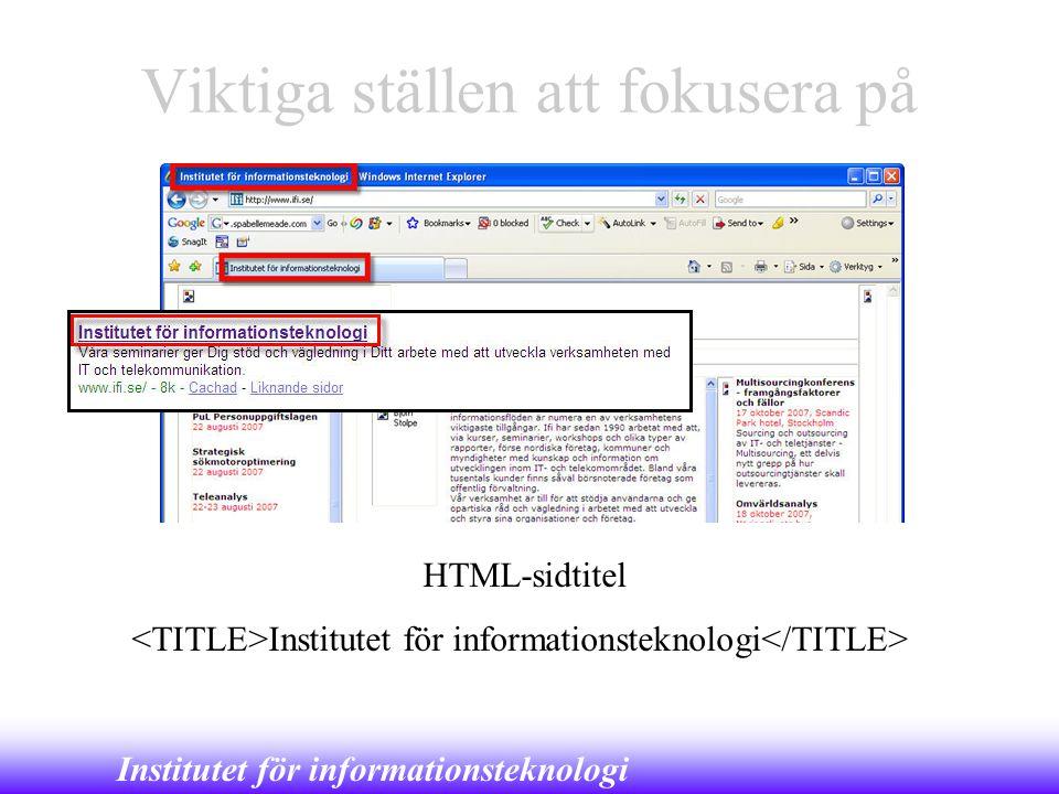 Institutet för informationsteknologi Viktiga ställen att fokusera på HTML-sidtitel Institutet för informationsteknologi