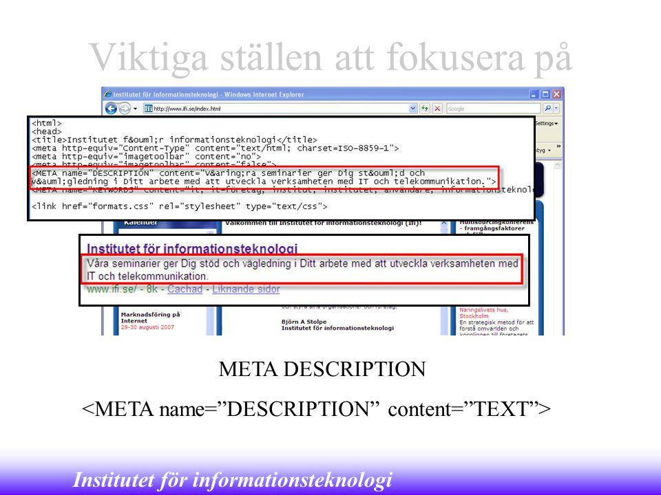 Institutet för informationsteknologi Viktiga ställen att fokusera på META DESCRIPTION