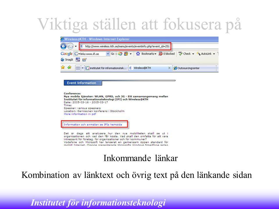 Institutet för informationsteknologi Viktiga ställen att fokusera på Inkommande länkar Kombination av länktext och övrig text på den länkande sidan