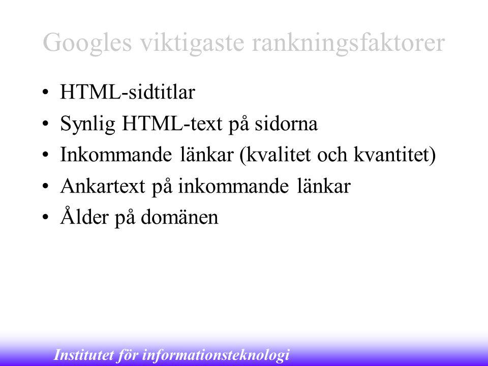 Institutet för informationsteknologi Googles viktigaste rankningsfaktorer •HTML-sidtitlar •Synlig HTML-text på sidorna •Inkommande länkar (kvalitet oc