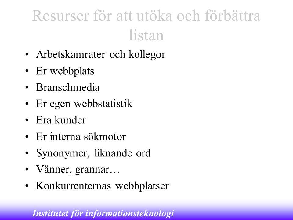 Institutet för informationsteknologi Resurser för att utöka och förbättra listan •Arbetskamrater och kollegor •Er webbplats •Branschmedia •Er egen web