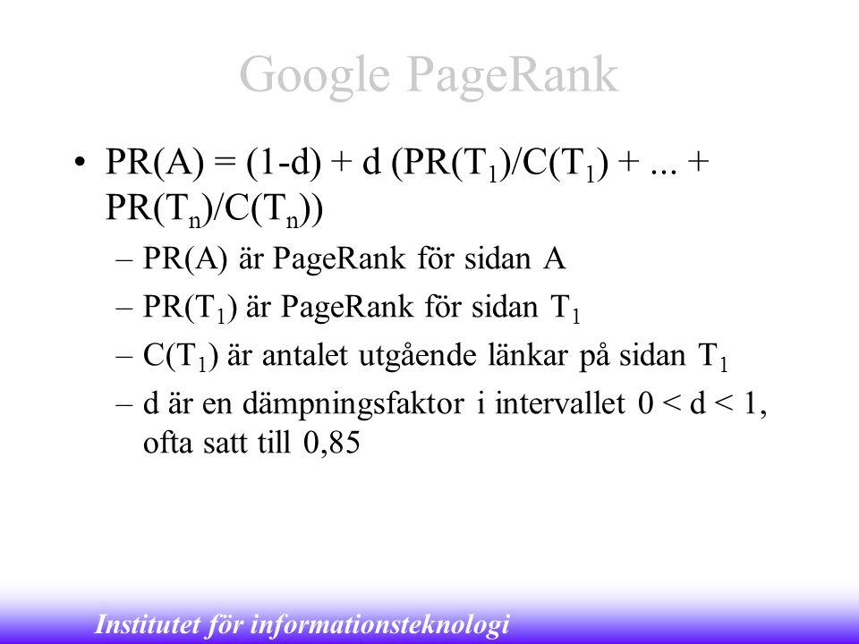 Institutet för informationsteknologi Google PageRank •PR(A) = (1-d) + d (PR(T 1 )/C(T 1 ) +... + PR(T n )/C(T n )) –PR(A) är PageRank för sidan A –PR(