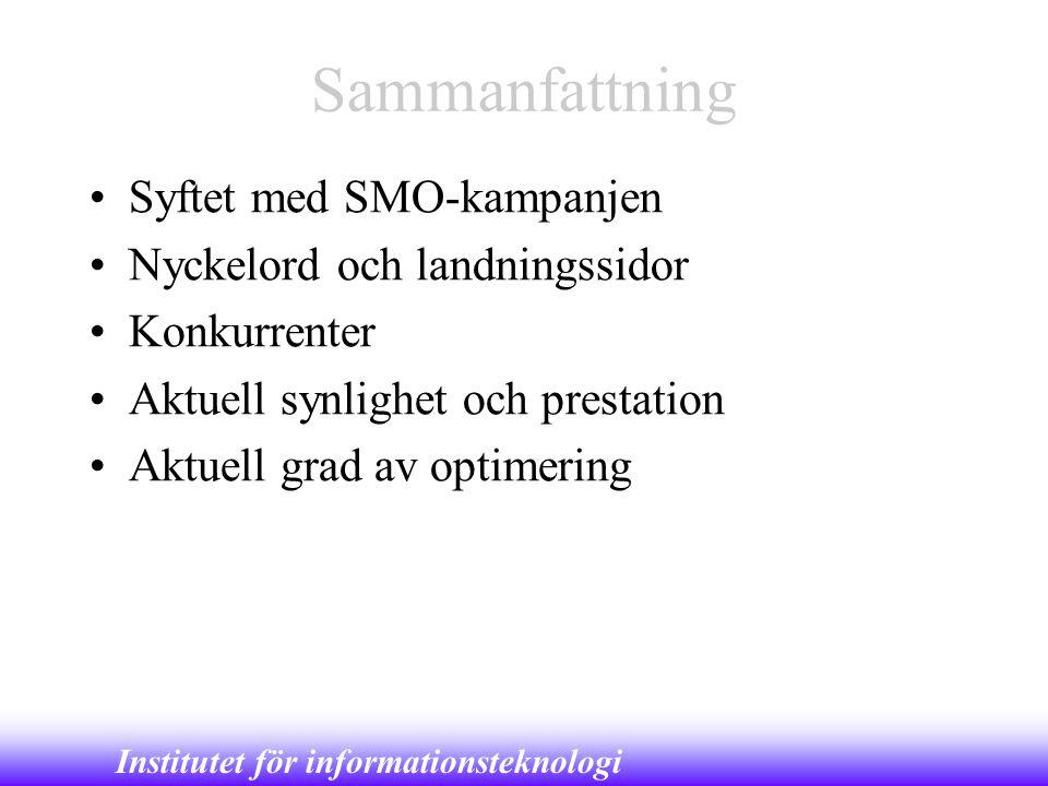 Institutet för informationsteknologi Sammanfattning •Syftet med SMO-kampanjen •Nyckelord och landningssidor •Konkurrenter •Aktuell synlighet och prest