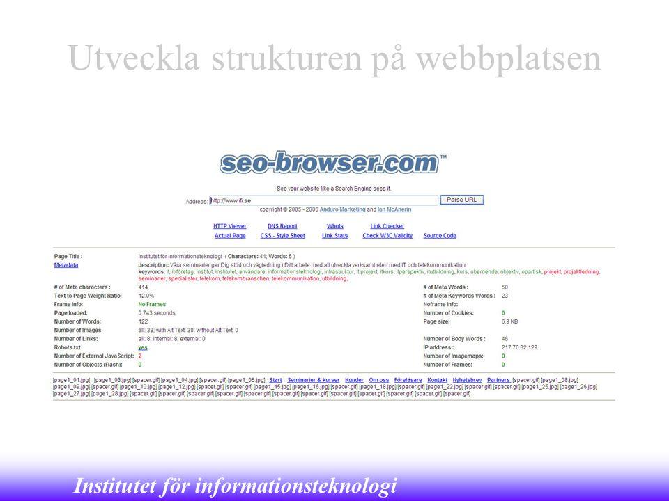 Institutet för informationsteknologi Utveckla strukturen på webbplatsen