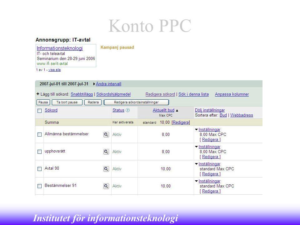 Institutet för informationsteknologi Konto PPC