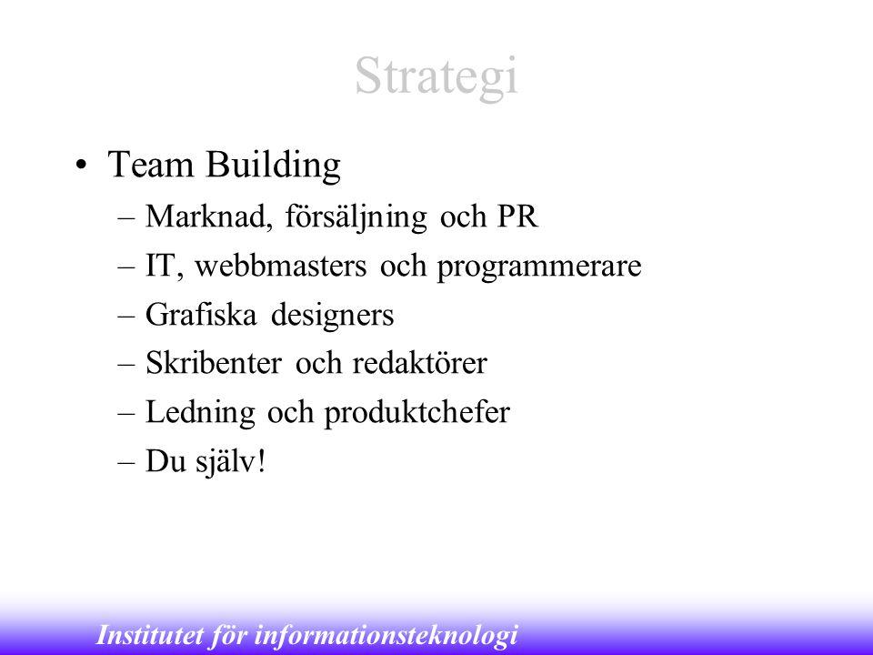 Institutet för informationsteknologi Strategi •Team Building –Marknad, försäljning och PR –IT, webbmasters och programmerare –Grafiska designers –Skri