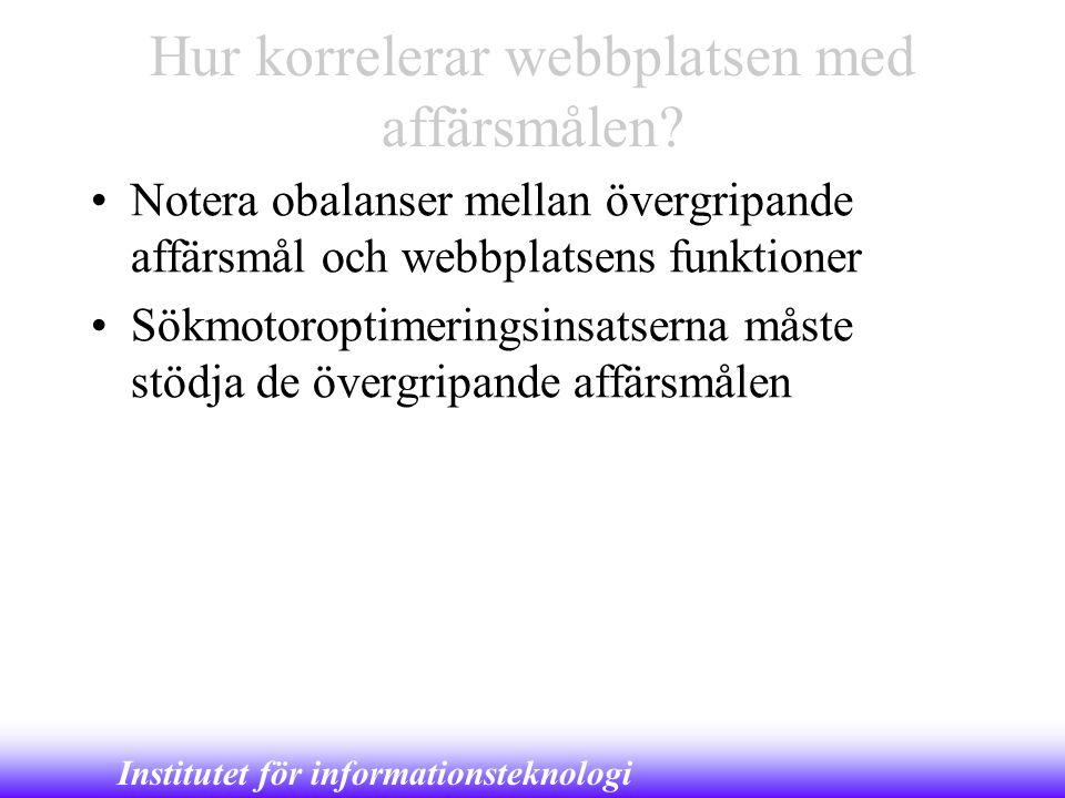 Institutet för informationsteknologi Hur korrelerar webbplatsen med affärsmålen? •Notera obalanser mellan övergripande affärsmål och webbplatsens funk