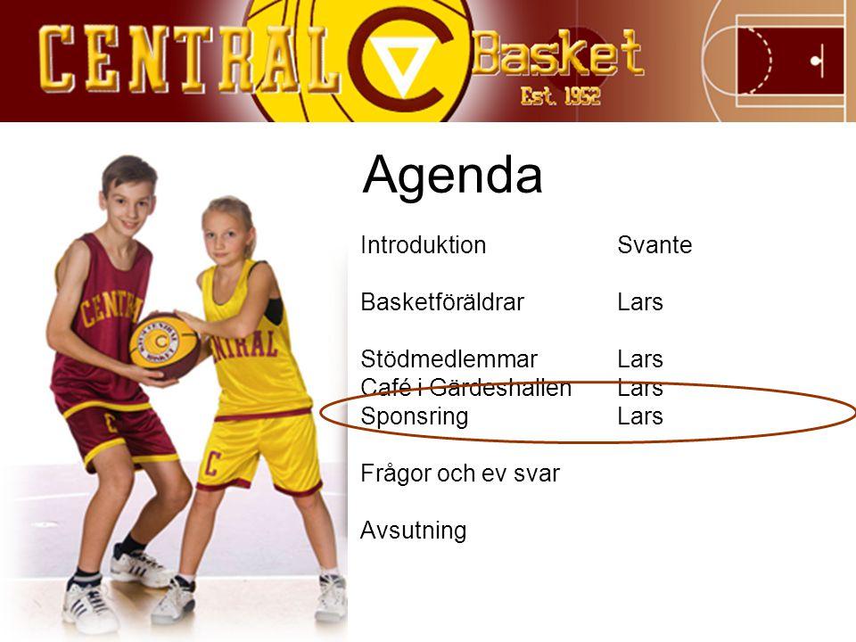 Agenda IntroduktionSvante BasketföräldrarLars StödmedlemmarLars Café i GärdeshallenLars SponsringLars Frågor och ev svar Avsutning