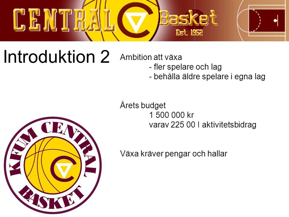 Introduktion 2 Ambition att växa - fler spelare och lag - behålla äldre spelare i egna lag Årets budget 1 500 000 kr varav 225 00 I aktivitetsbidrag V