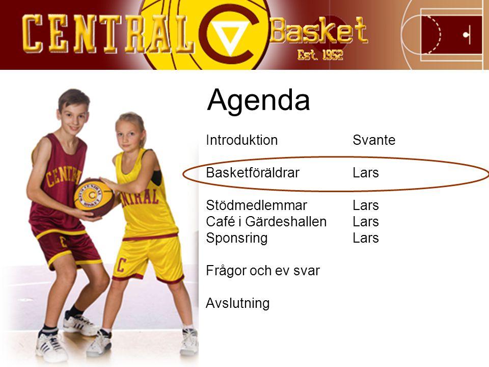 Agenda IntroduktionSvante BasketföräldrarLars StödmedlemmarLars Café i GärdeshallenLars SponsringLars Frågor och ev svar Avslutning