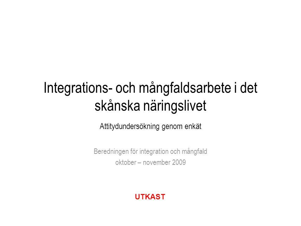Integrations- och mångfaldsarbete i det skånska näringslivet Attitydundersökning genom enkät Beredningen för integration och mångfald oktober – novemb