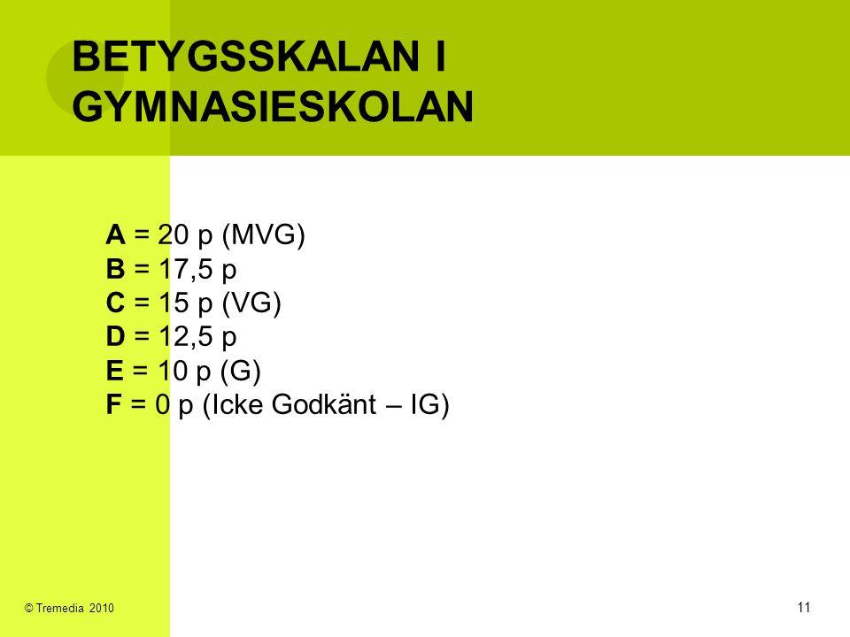 BETYGSSKALAN I GYMNASIESKOLAN A = 20 p (MVG) B = 17,5 p C = 15 p (VG) D = 12,5 p E = 10 p (G) F = 0 p (Icke Godkänt – IG) 11 © Tremedia 2010