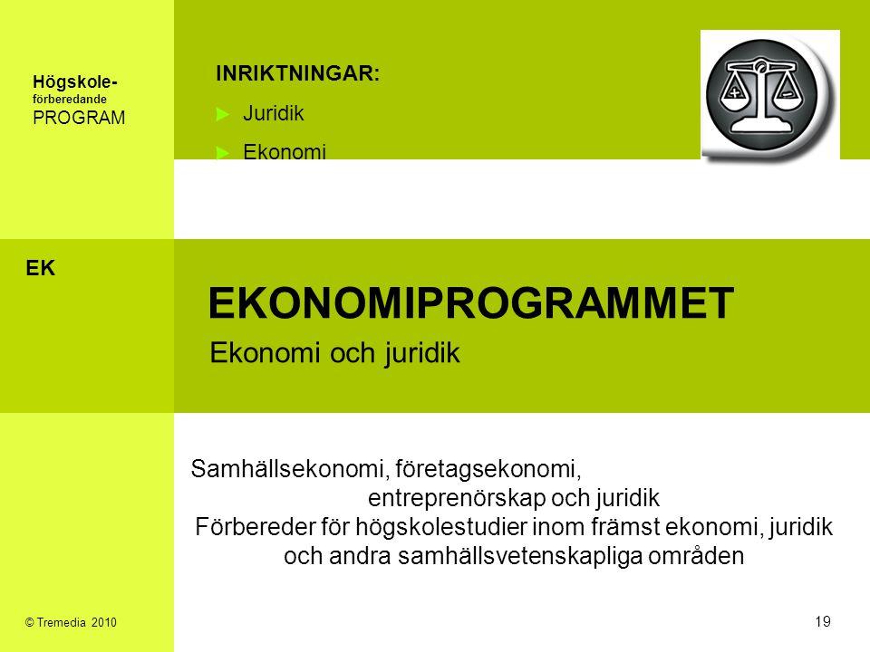 EKONOMIPROGRAMMET Ekonomi och juridik INRIKTNINGAR: Juridik Ekonomi Samhällsekonomi, företagsekonomi, entreprenörskap och juridik Förbereder för högsk