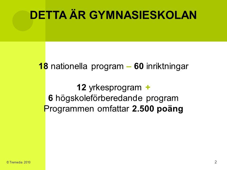 DETTA ÄR GYMNASIESKOLAN 18 nationella program – 60 inriktningar 12 yrkesprogram + 6 högskoleförberedande program Programmen omfattar 2.500 poäng 2 © T