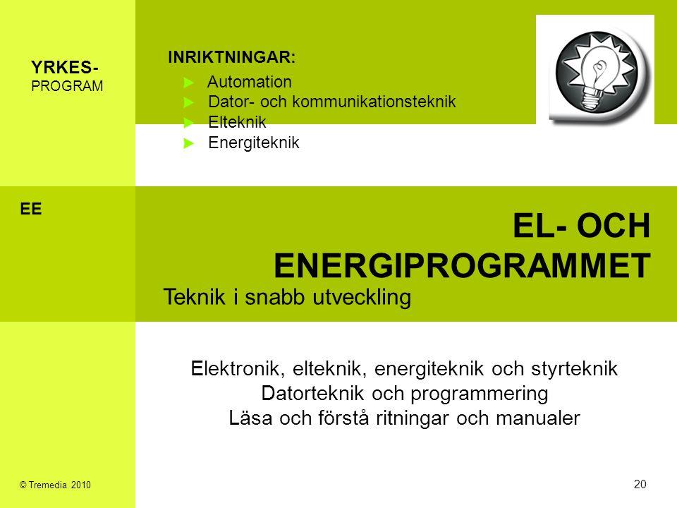 EL- OCH ENERGIPROGRAMMET Teknik i snabb utveckling INRIKTNINGAR: Automation Dator- och kommunikationsteknik Elteknik Energiteknik Elektronik, elteknik