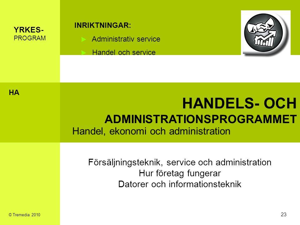 HANDELS- OCH ADMINISTRATIONSPROGRAMMET Handel, ekonomi och administration INRIKTNINGAR: Administrativ service Handel och service Försäljningsteknik, s