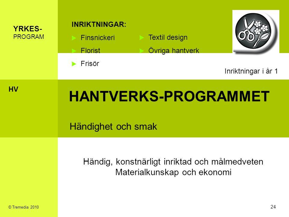 HANTVERKS-PROGRAMMET Händighet och smak INRIKTNINGAR: Finsnickeri Florist Frisör Händig, konstnärligt inriktad och målmedveten Materialkunskap och eko