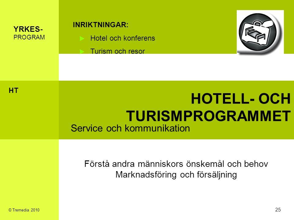 HOTELL- OCH TURISMPROGRAMMET Service och kommunikation INRIKTNINGAR: Hotel och konferens Turism och resor Förstå andra människors önskemål och behov M
