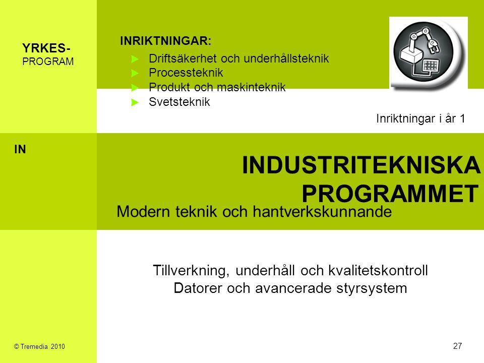 INDUSTRITEKNISKA PROGRAMMET Modern teknik och hantverkskunnande INRIKTNINGAR: Driftsäkerhet och underhållsteknik Processteknik Produkt och maskintekni