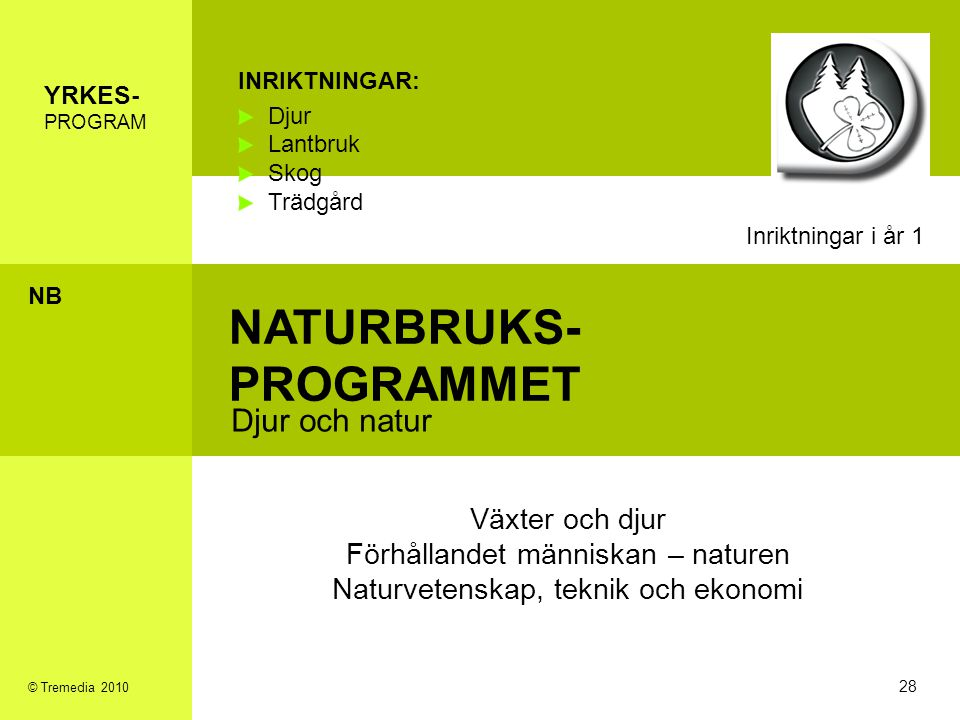 NATURBRUKS- PROGRAMMET Djur och natur INRIKTNINGAR: Djur Lantbruk Skog Trädgård Växter och djur Förhållandet människan – naturen Naturvetenskap, tekni
