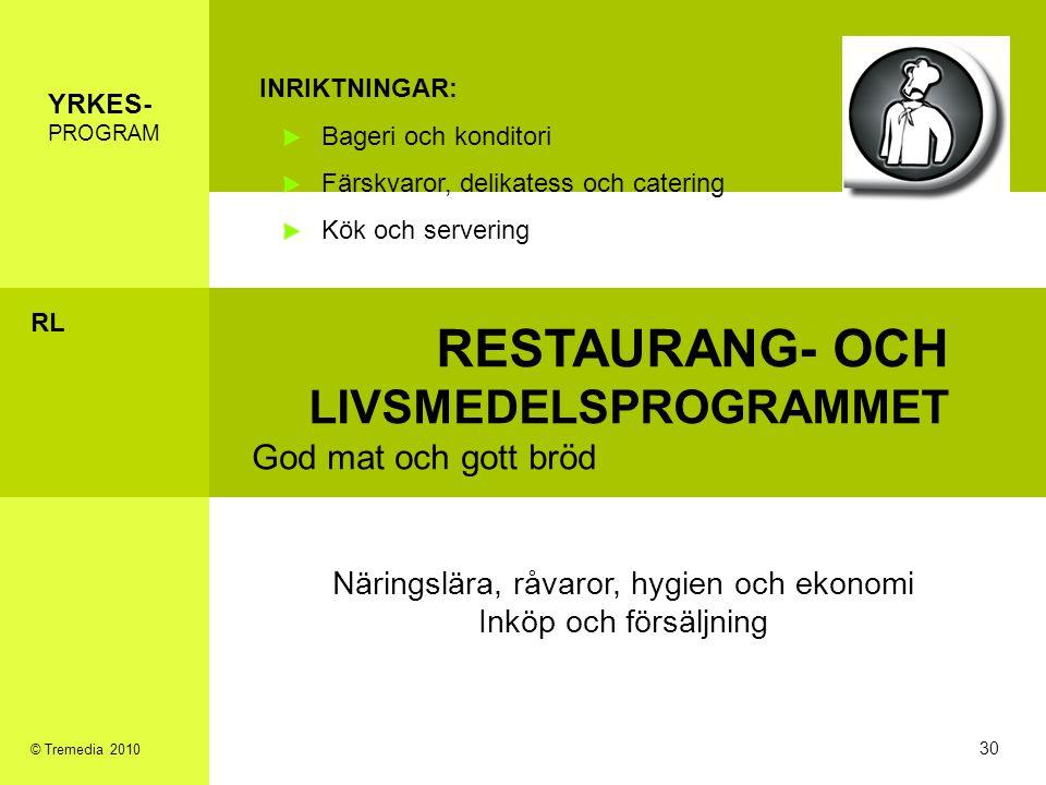 RESTAURANG- OCH LIVSMEDELSPROGRAMMET God mat och gott bröd INRIKTNINGAR: Bageri och konditori Färskvaror, delikatess och catering Kök och servering Nä