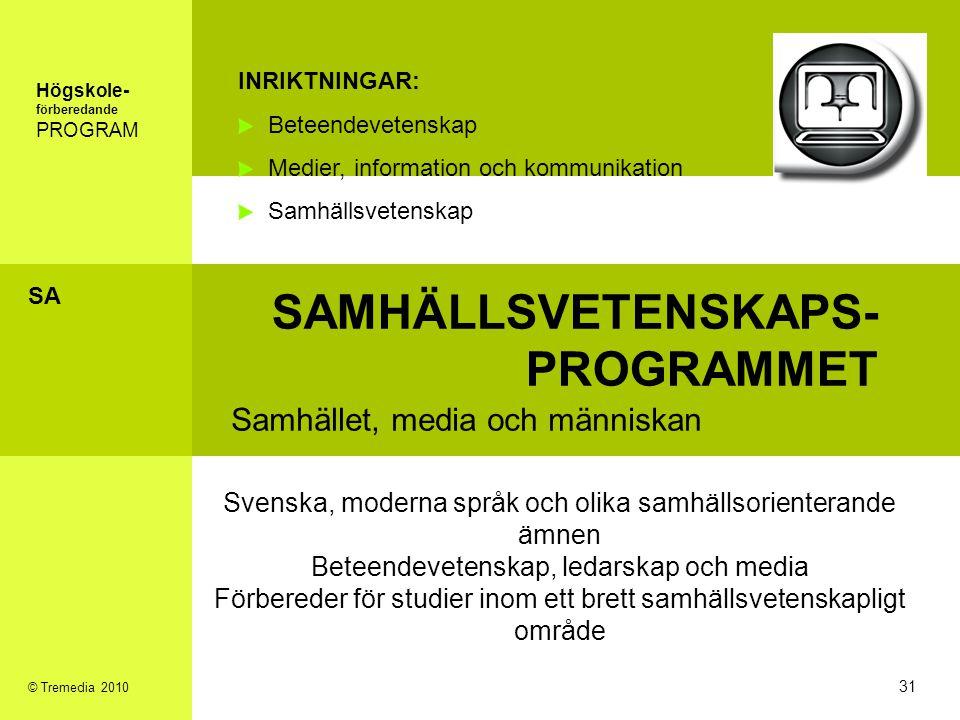 SAMHÄLLSVETENSKAPS- PROGRAMMET Samhället, media och människan INRIKTNINGAR: Beteendevetenskap Medier, information och kommunikation Samhällsvetenskap