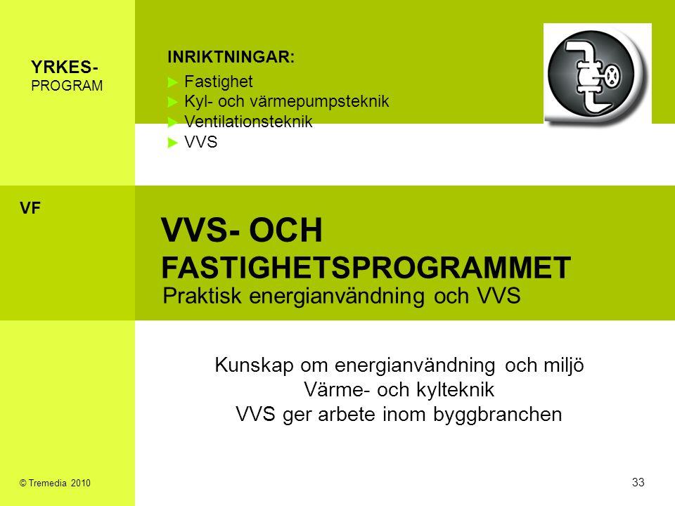 VVS- OCH FASTIGHETSPROGRAMMET Praktisk energianvändning och VVS INRIKTNINGAR: Fastighet Kyl- och värmepumpsteknik Ventilationsteknik VVS Kunskap om en