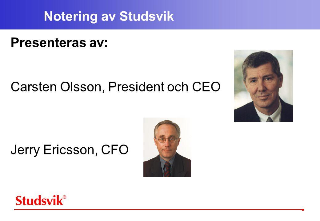 Notering av Studsvik Presenteras av: Carsten Olsson, President och CEO Jerry Ericsson, CFO