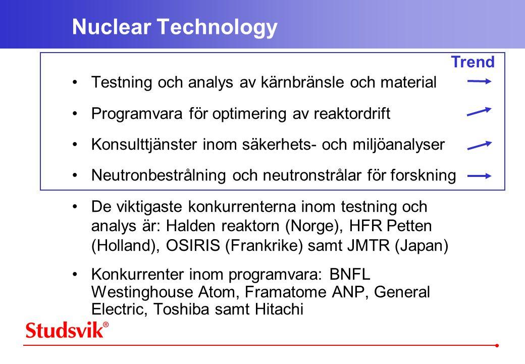 Trend Nuclear Technology •Testning och analys av kärnbränsle och material •Programvara för optimering av reaktordrift •Konsulttjänster inom säkerhets- och miljöanalyser •Neutronbestrålning och neutronstrålar för forskning •De viktigaste konkurrenterna inom testning och analys är: Halden reaktorn (Norge), HFR Petten (Holland), OSIRIS (Frankrike) samt JMTR (Japan) •Konkurrenter inom programvara: BNFL Westinghouse Atom, Framatome ANP, General Electric, Toshiba samt Hitachi