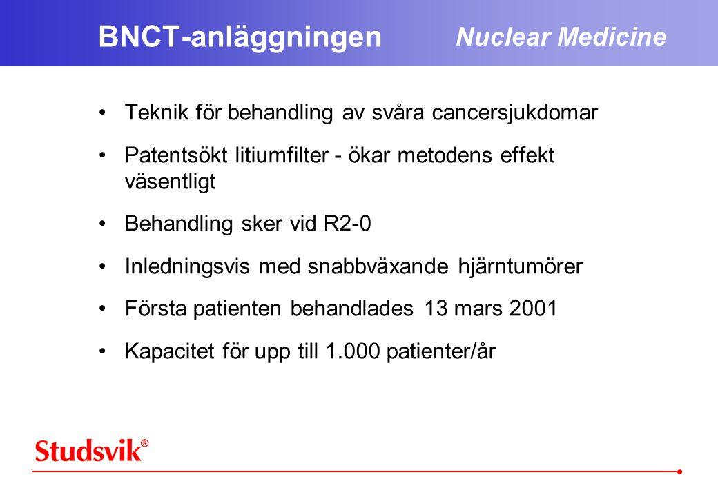 Nuclear Medicine BNCT-anläggningen •Teknik för behandling av svåra cancersjukdomar •Patentsökt litiumfilter - ökar metodens effekt väsentligt •Behandling sker vid R2-0 •Inledningsvis med snabbväxande hjärntumörer •Första patienten behandlades 13 mars 2001 •Kapacitet för upp till 1.000 patienter/år