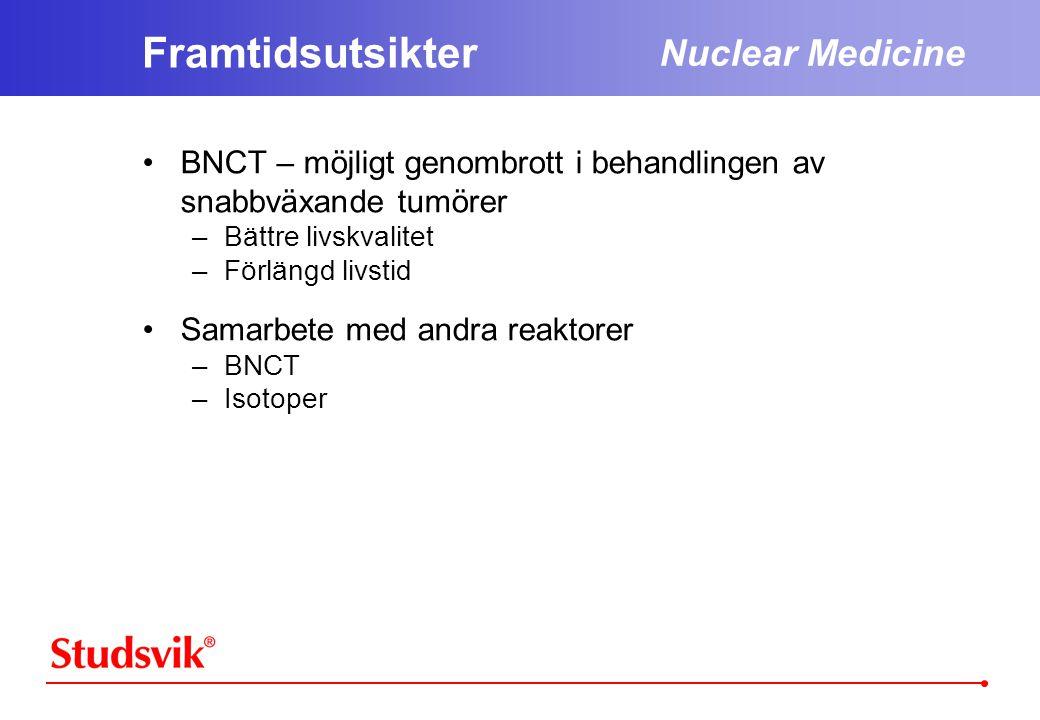 Framtidsutsikter •BNCT – möjligt genombrott i behandlingen av snabbväxande tumörer –Bättre livskvalitet –Förlängd livstid •Samarbete med andra reaktorer –BNCT –Isotoper