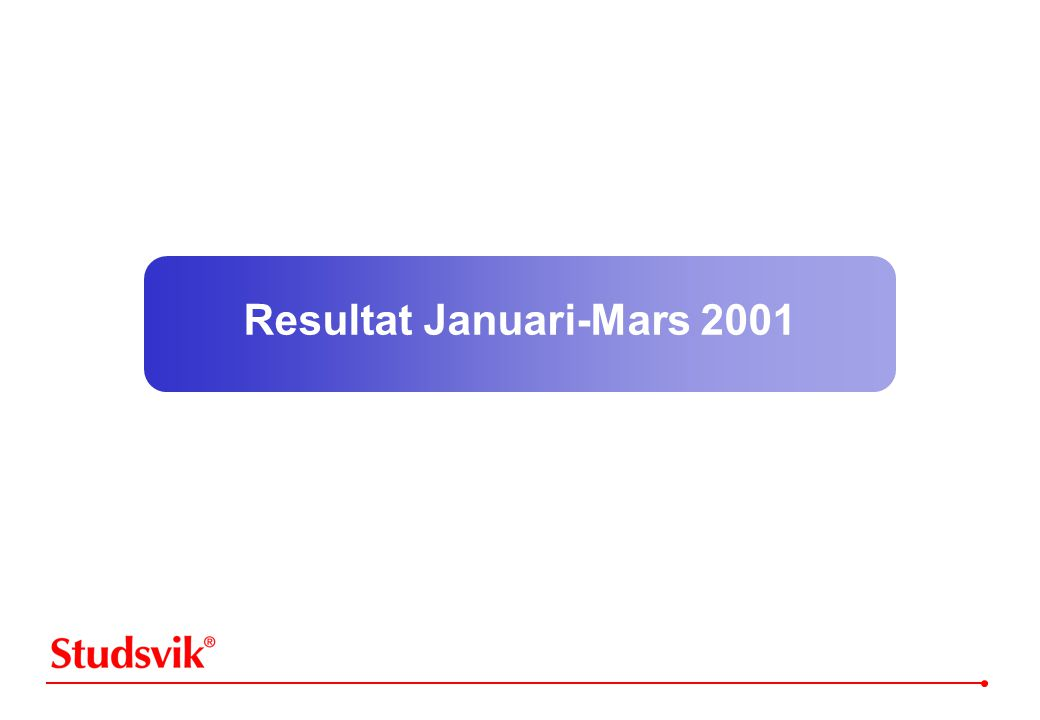 Resultat Januari-Mars 2001