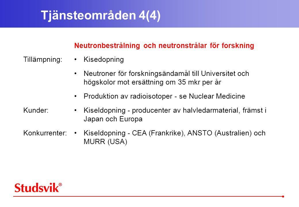 Tjänsteområden 4(4) Tillämpning: Kunder: Konkurrenter: Neutronbestrålning och neutronstrålar för forskning •Kisedopning •Neutroner för forskningsändamål till Universitet och högskolor mot ersättning om 35 mkr per år •Produktion av radioisotoper - se Nuclear Medicine •Kiseldopning - producenter av halvledarmaterial, främst i Japan och Europa •Kiseldopning - CEA (Frankrike), ANSTO (Australien) och MURR (USA)