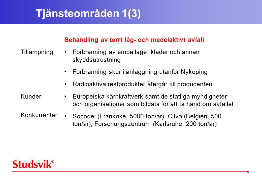 Tjänsteområden 1(3) Tillämpning: Kunder: Konkurrenter: Behandling av torrt låg- och medelaktivt avfall •Förbränning av emballage, kläder och annan skyddsutrustning •Förbränning sker i anläggning utanför Nyköping •Radioaktiva restprodukter återgår till producenten •Europeiska kärnkraftverk samt de statliga myndigheter och organisationer som bildats för att ta hand om avfallet •Socodei (Frankrike, 5000 ton/år), Cilva (Belgien, 500 ton/år), Forschungszentrum (Karlsruhe, 200 ton/år)