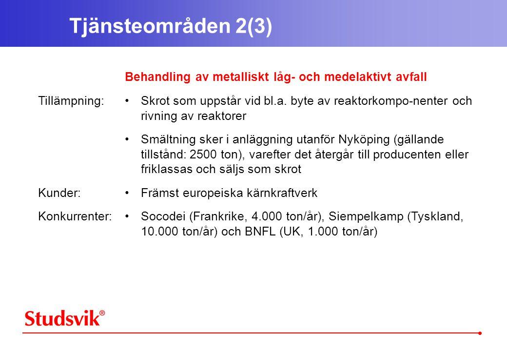 Tjänsteområden 2(3) Tillämpning: Kunder: Konkurrenter: Behandling av metalliskt låg- och medelaktivt avfall •Skrot som uppstår vid bl.a.